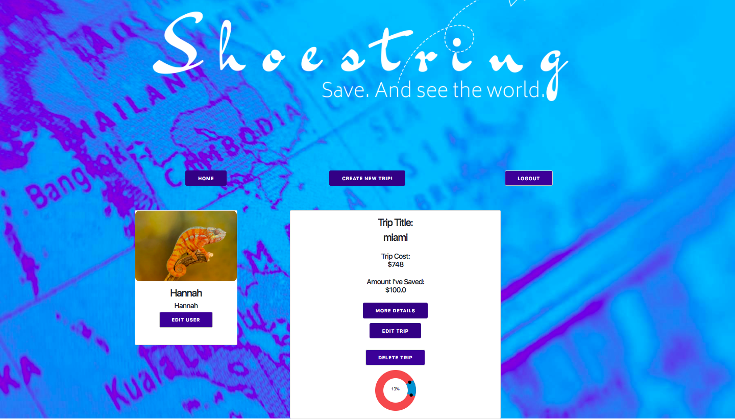 Shoestring trip view page