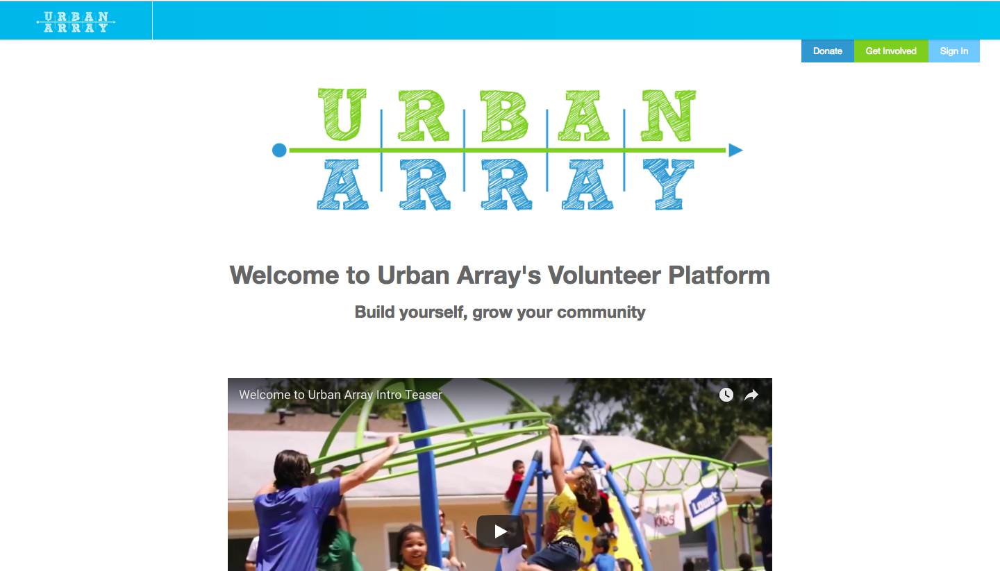 Urban Array welcome page
