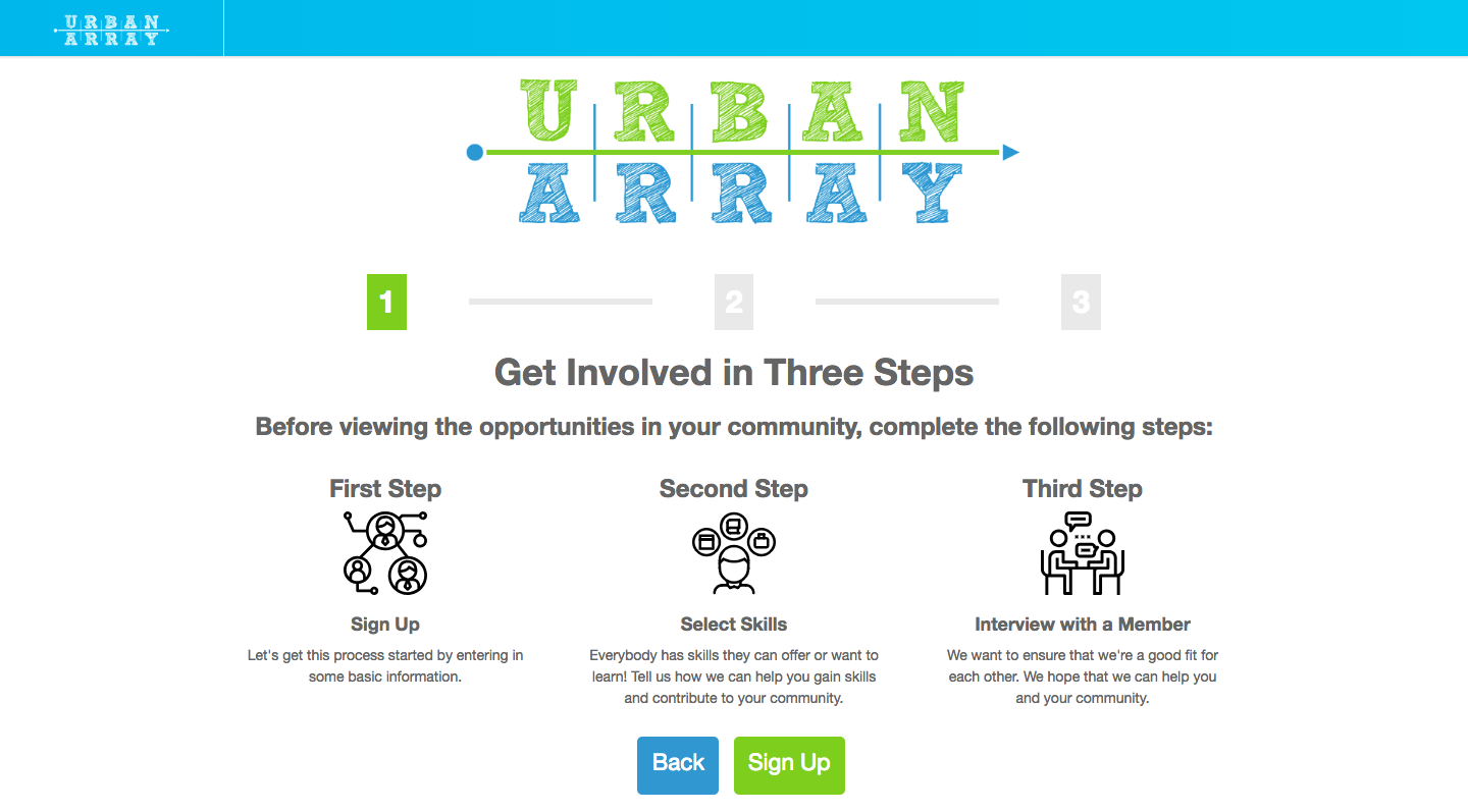 Urban Array onboarding page 1